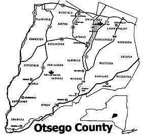 Small Otsego Counjty Map - Click below for a larger, printable map